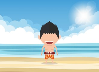 Vector illustration of a happy face man. a concept of balancing life holiday at sea, enjoy summer holidays