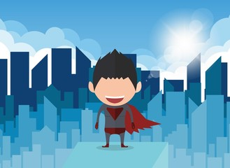Vector illustration of a happy face superhero businessman. a concept of balancing personal businessman.