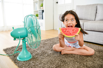 girl eating watermelon and blowing electric fan