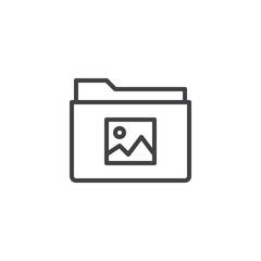 Image gallery folder line icon, outline vector sign, linear style pictogram isolated on white. Symbol, logo illustration. Editable stroke