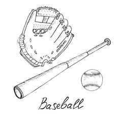 Baseball equipment set: ball, bat and glove, hand drawn doodle sketch with inscription, isolated vector outline illustration