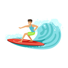 Cheerful male surfer riding a big wave, water extreme sport, summer vacation vector Illustration