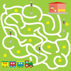 Maze, search the way to the station, train, vector icon