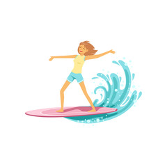 Happy surf girl with surfboard riding a wave, water extreme sport, summer vacation vector Illustration