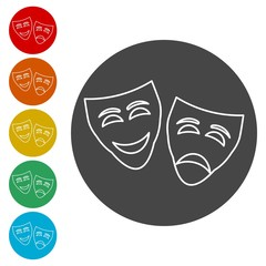 Theater mask isolated icon