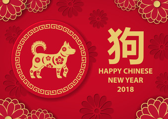 Chinese New Year poster, a hieroglyph signifying a dog and its i