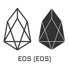 EOS (EOS). Vector illustration crypto coin icon o