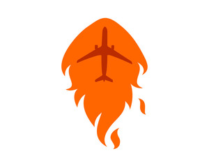 burning heat fire plane airport flight airline airway image symbol icon