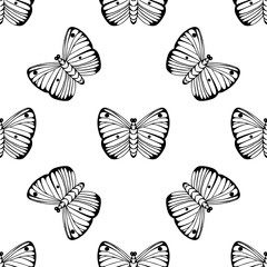Monochrome vector seamless pattern. Endless butterfly elements. Modern background texture.