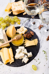 Cheese plate. Cheese plate. Assortment of cheese