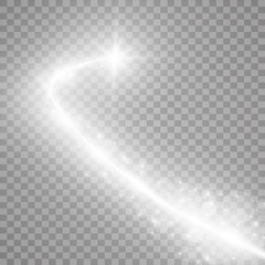 Comet flying on a transparent background, flying and bright. Vector illustration. Light, radiance and rays.