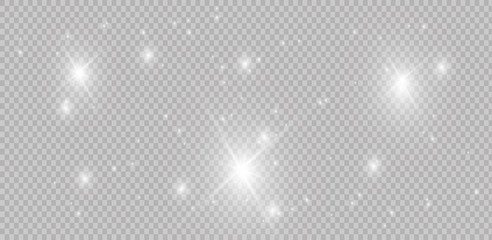 Shining stars on a transparent background, shiny and bright. Vector illustration. Light, radiance and rays.