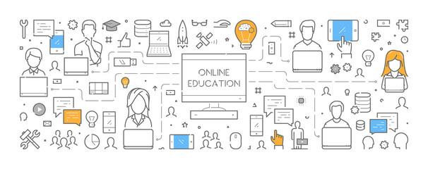 Line web banner for online education