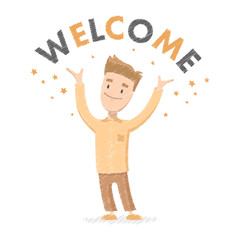 Vector illustration of a welcome for web and design