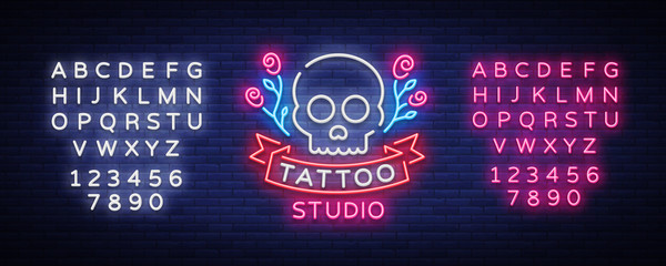 Tattoo salon logo vector. Neon sign, symbol of a skull with roses, bright luminous billboard, neon bright advertising on a theme of tattoo, for tattoo of salon, studio. Editing text neon sign