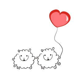 Two sheep with a balloon in the shape of a heart on a white background. Vector illustration. Doodle art. Love and Valentine's day.