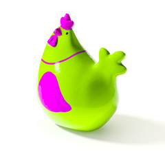 a stylish green and pink ceramic chicken for easter decoration
