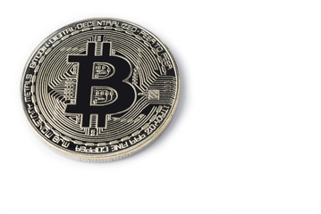 Face of the crypto currency golden bitcoin isolated on white background.