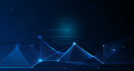 Abstract futuristic - Molecules technology with linear and polygonal pattern shapes with mesh lines and bright glitter on dark blue background. Illustration Vector design digital technology concept