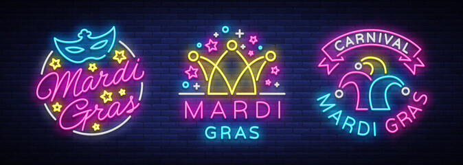 Mardi Gras set of design template for greeting cards, flyers. Fat Tuesday is collection of festive illustrations in neon style, neon sign, festive symbol, luminous banner, neon billboard. Vector