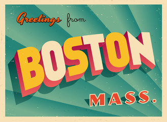 Vintage Touristic Greeting Card From Boston, Massachusetts - Vector EPS10. Grunge effects can be easily removed for a brand new, clean sign.