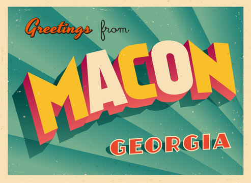 Vintage Touristic Greeting Card From Macon, Georgia - Vector EPS10. Grunge effects can be easily removed for a brand new, clean sign.