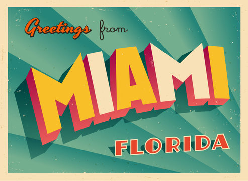 Vintage Touristic Greeting Card From Miami, Florida - Vector EPS10. Grunge effects can be easily removed for a brand new, clean sign.