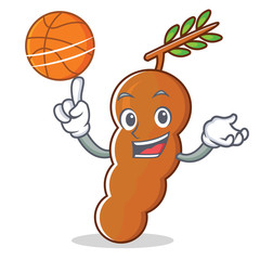 With basketball tamarind character cartoon style