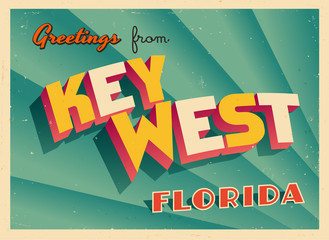 Vintage Touristic Greeting Card From Key West, Florida - Vector EPS10. Grunge effects can be easily removed for a brand new, clean sign.