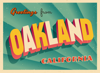 Vintage Touristic Greeting Card From Oakland, California - Vector EPS10. Grunge effects can be easily removed for a brand new, clean sign.