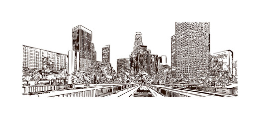 Los Angeles City in California. Hand drawn sketch illustration in vector. Fototapete