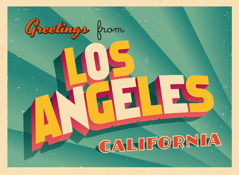 Vintage Touristic Greeting Card From Los Angeles, California - Vector EPS10. Grunge effects can be easily removed for a brand new, clean sign.