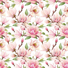 Watercolor magnolia floral vector pattern