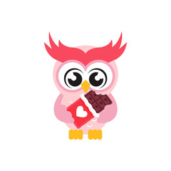 cartoon cute owl lovely with chocolate