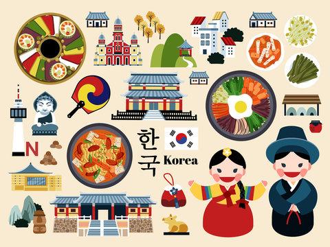 Lovely Korea travel concept set