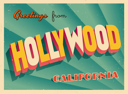Vintage Touristic Greeting Card From Hollywood, California - Vector EPS10. Grunge effects can be easily removed for a brand new, clean sign.