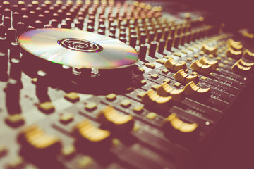 compact disc on sound mixer