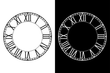 Retro clock face with roman numerals