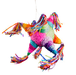 Colorful mexican pinata used in birthdays and posadas isolated on white