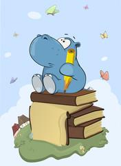 Illustration of a Cute Little Hippo Poet Cartoon