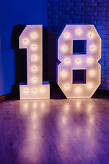 decorative number 18 for birthdays