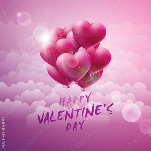 Happy valentines day design with red balloon heart and typography happy valentines day design with red balloon heart and typography letter on pink cloud background stopboris Images