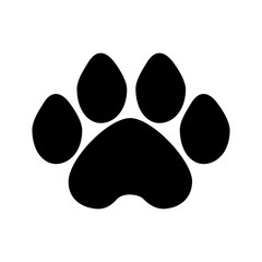 dog paw black and white vector