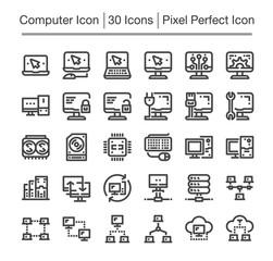 computer line icon set