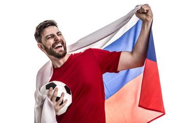 Russian athlete / fan celebrating on white background