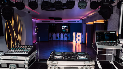 dj console with a view of the dance floor