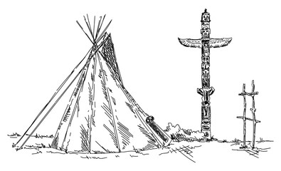 indian teepee and totem