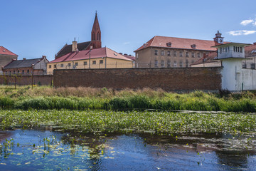 View of prison and Church of Good Thief in Barczewo, small city near Olsztyn, Masuria region of Poland
