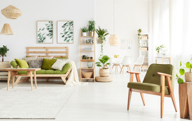 Green armchair in living room Wall mural