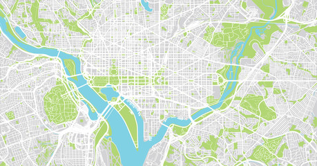 Urban vector city map of Washington D.C, USA